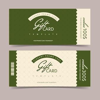 Elegancka cenna karta podarunkowa z szablonem kodu promocyjnego.