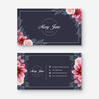 Elegancka ciemna akwarela kwiatowy wizytówkę