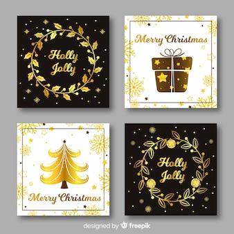 Elegancka czarna i złota kartka świąteczna kolekcja