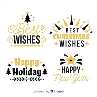 Elegancka czarna i złota kolekcja etykiet świątecznych