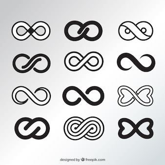 Elegancka czarna kolekcja nieskończonych symboli