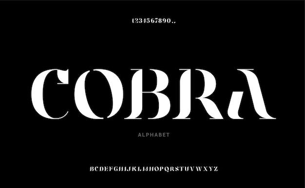 "Elegancka czcionka i liczba liter alfabetu ""cobra"""