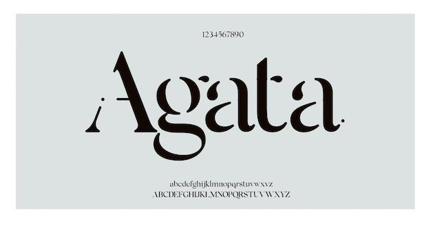 Elegancka czcionka i liczba liter alfabetu. klasyczne eleganckie napisy minimalistyczne wzory.