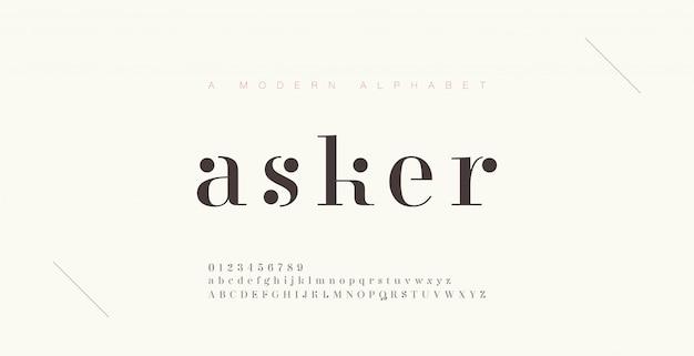 Elegancka czcionka i liczba liter alfabetu. klasyczne litery minimalne wzory mody. czcionki typograficzne zwykłe wielkie i małe litery.