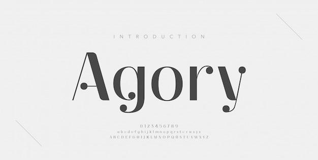 Elegancka czcionka i liczba liter alfabetu. klasyczne miedziane napisy minimalistyczne wzory mody. czcionki typograficzne zwykłe wielkie i małe litery.