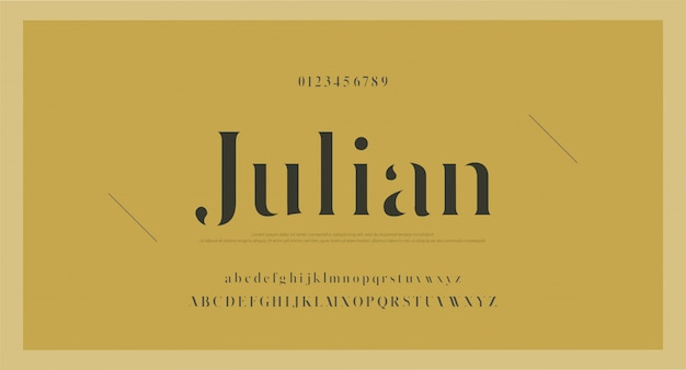 Elegancka czcionka i liczba liter alfabetu klasycznego