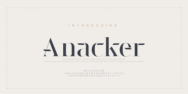 Elegancka czcionka i liczba liter alfabetu. klasyczny miedziany napis minimal fashion