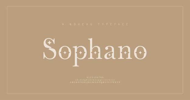 Elegancka czcionka i liczba liter alfabetu szeryfowego. klasyczny napis minimal fashion. czcionki typograficzne zwykłe wielkie i małe litery oraz cyfry.
