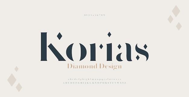 Elegancka czcionka i liczba liter alfabetu szeryfowego. luksusowy klasyczny napis minimalna moda. czcionki typograficzne zwykłe wielkie i małe litery oraz cyfry.