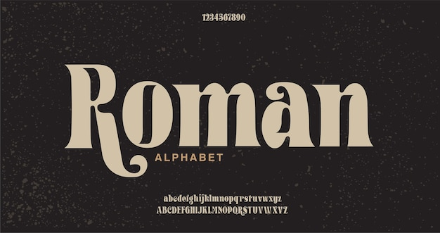 Elegancka czcionka i liczba liter alfabetu.