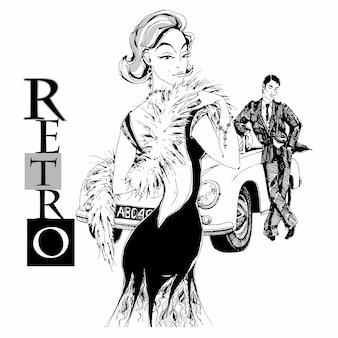 Elegancka dama i dżentelmen w stylu retro. samochód. grafika.