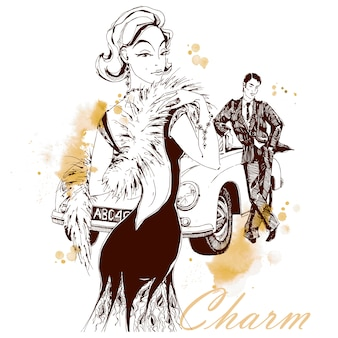 Elegancka dama i dżentelmen w stylu retro. samochód. urok
