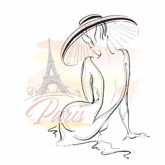Elegancka dziewczyna w kapeluszu w paryżu. stylowy model.