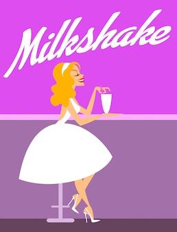 Elegancka dziewczyna z milkshake ilustracją