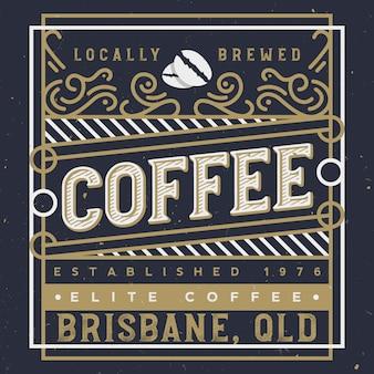 Elegancka etykieta na kawę z elementami ornamentu królewskiego. projekt etykiety kawy. ręcznie robiona kawa ilustracja.