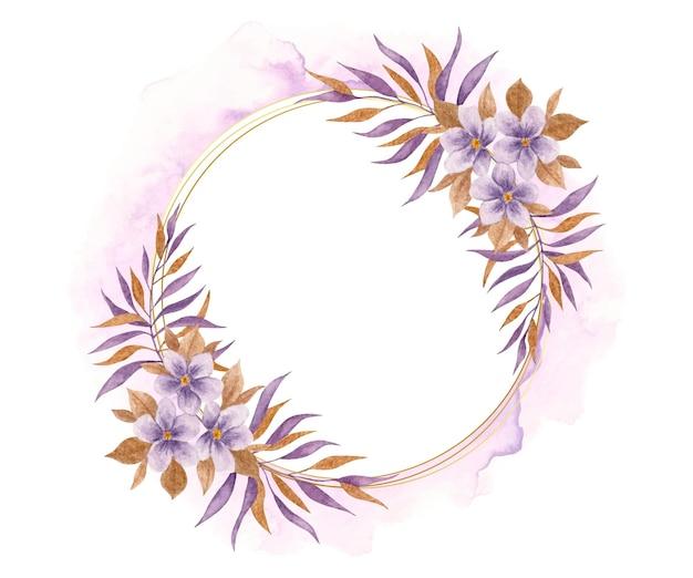 Elegancka fioletowa ramka kwiatowy na białym tle