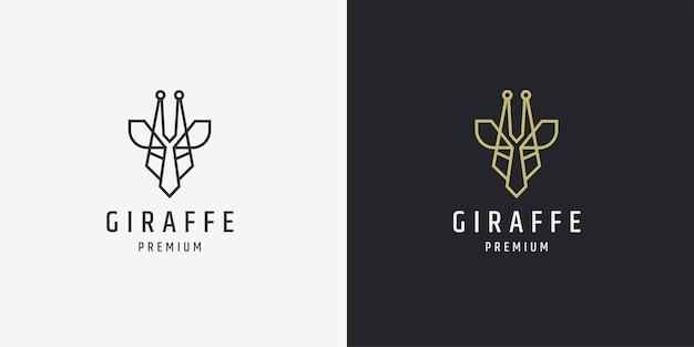 Elegancka głowa żyrafy mono linia złota ikona logo szablon projektu