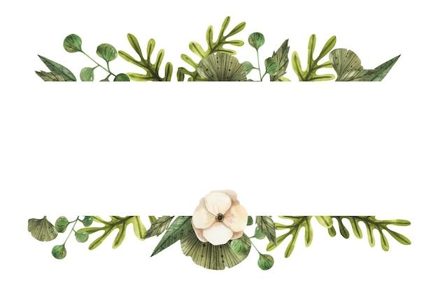 Elegancka granica kompozycja kwiatowa akwarela.