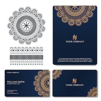 Elegancka i luksusowa wizytówka z ornamentem mandali