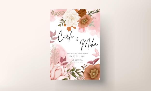 Elegancka jesienna kwiatowa karta zaproszenie na ślub z kwiatem róży i sosny