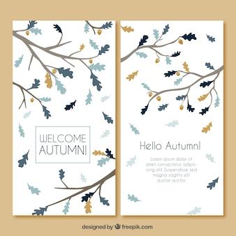 Elegancka karta jesień z ręcznie rysowane oddziałów