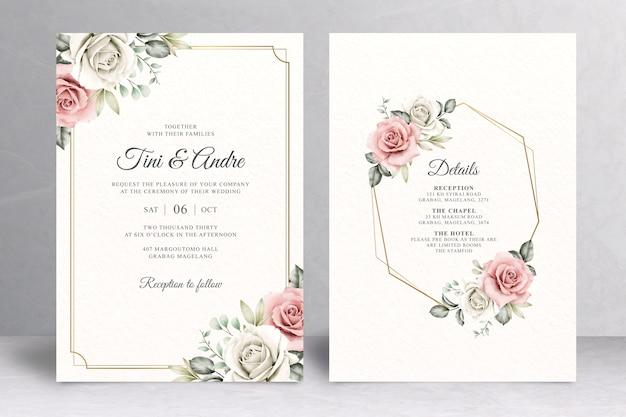 Elegancka karta kwiatowy zaproszenie na ślub