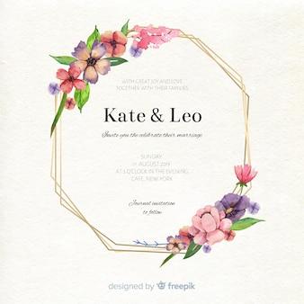 Elegancka karta ślub kwiatowy akwarela ramki
