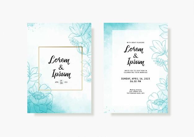 Elegancka karta ślub z pięknym szablonem kwiatowy i liści