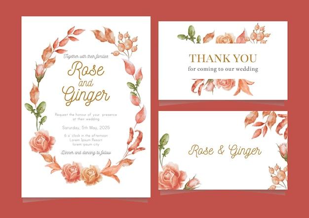 Elegancka karta ślubna akwarela róża