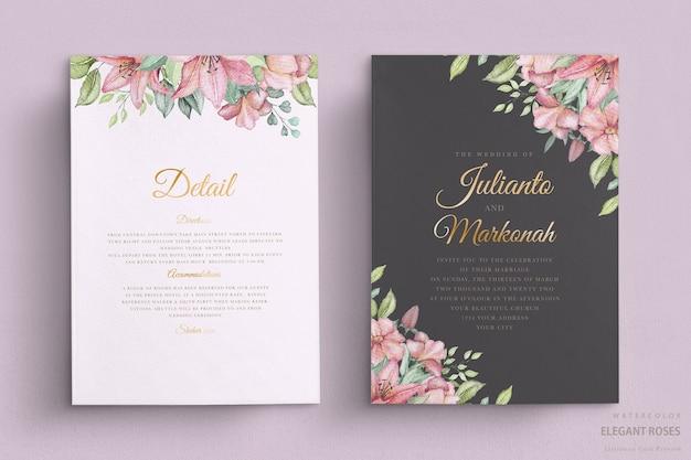 Elegancka karta ślubna kwiatowy akwarela
