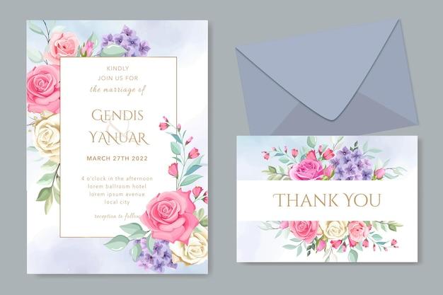Elegancka karta ślubna kwiatowy szablon