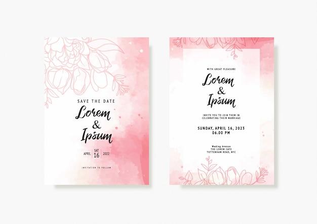 Elegancka karta ślubna pink peach z pięknym szablonem kwiatowym i liści