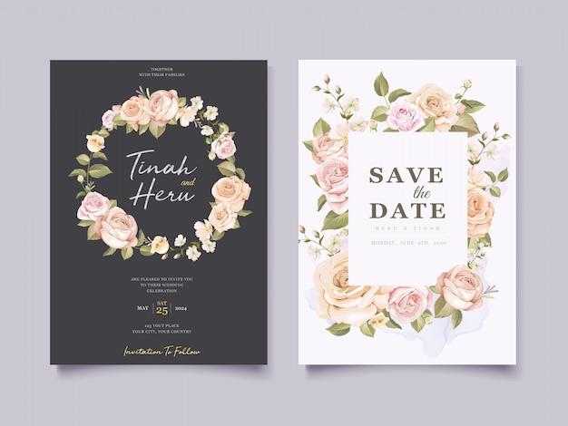 Elegancka karta ślubna w kwiaty