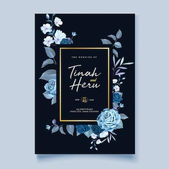 Elegancka karta ślubna wieniec kwiatowy