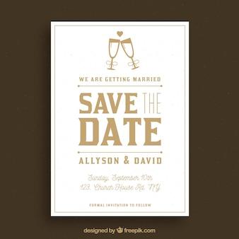 Elegancka karta ślubna z kieliszkami do szampana
