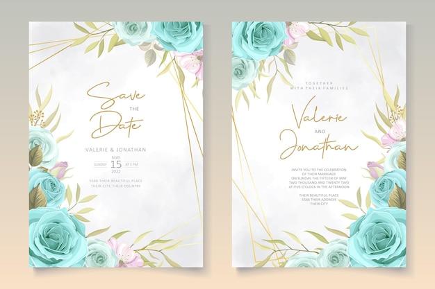 Elegancka karta ślubna z niebieskimi kwiatami