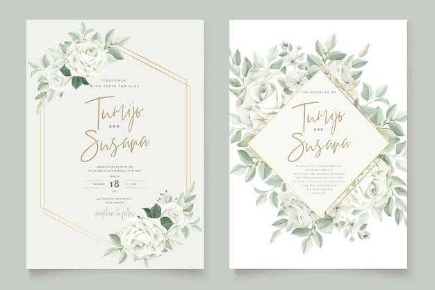 Elegancka karta ślubna z pięknym szablonem kwiatów i liści