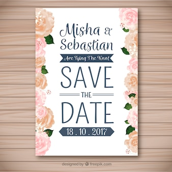 Elegancka karta ślubna z różami akwarelowymi