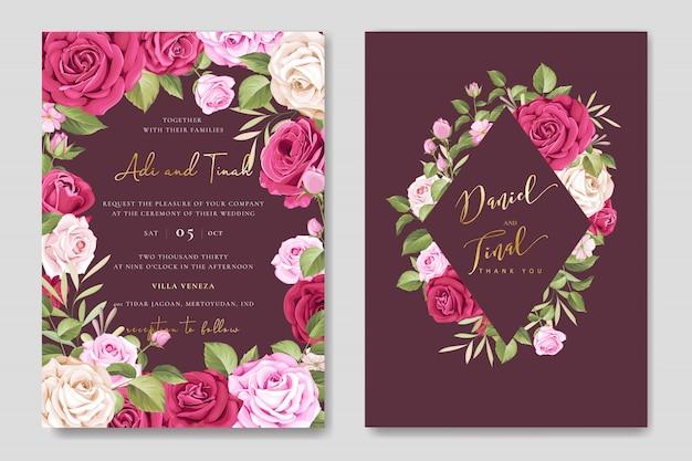Elegancka karta ślubu z kwiatów i liści szablonu