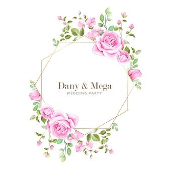 Elegancka karta ślubu z ramą kwiatów i liści