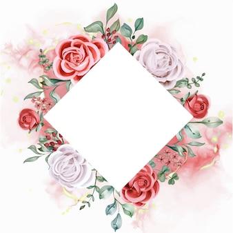 Elegancka karta szablon zaproszenia akwarela róża zaręczynowa