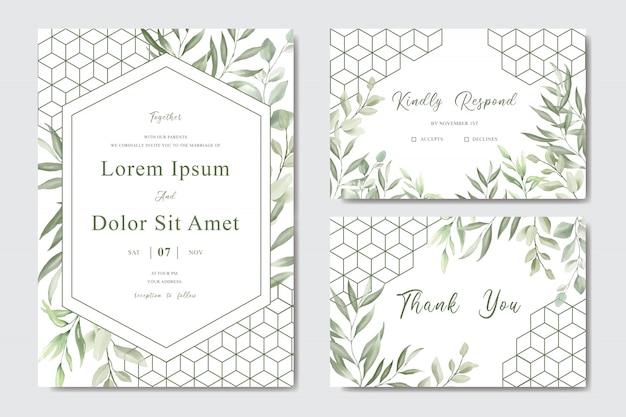 Elegancka karta szablon zaproszenia ślub liści akwarela