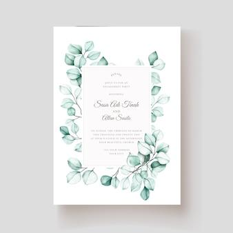 Elegancka karta zaproszenie akwarela eukaliptusa