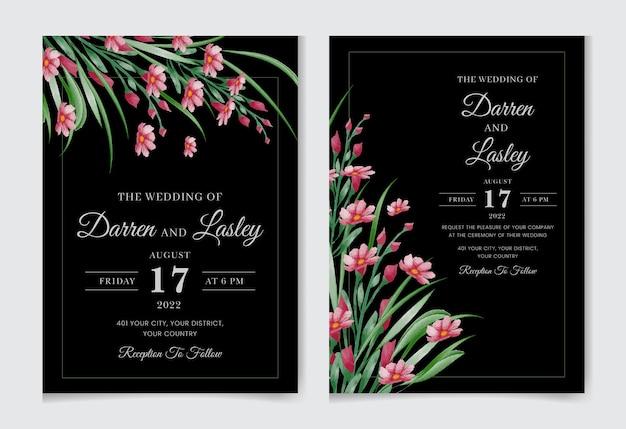 Elegancka karta zaproszenie na ślub akwarela z kolorowymi kwiatami