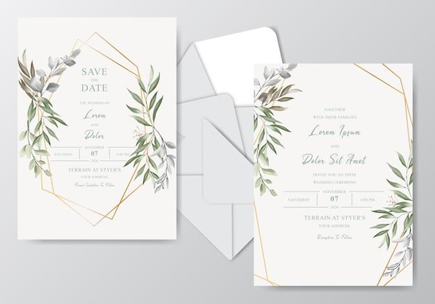 Elegancka karta zaproszenie na ślub akwarela z zielenią