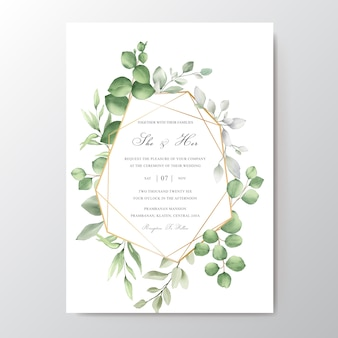 Elegancka karta zaproszenie na ślub akwarela