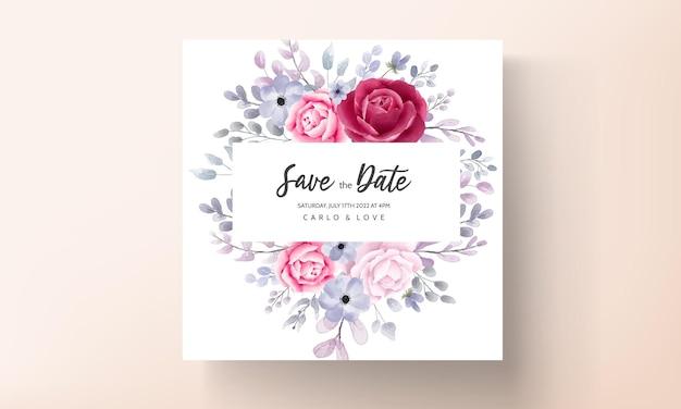 Elegancka karta zaproszenie na ślub kwiatowy akwarela