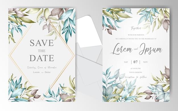 Elegancka karta zaproszenie na ślub kwiatowy z geometryczną ramą i kompozycjami kwiatowymi
