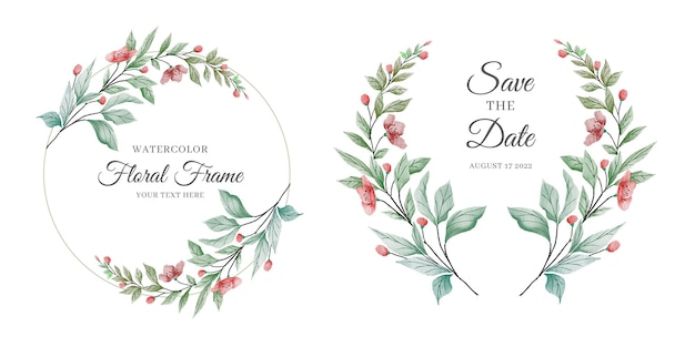 Elegancka karta zaproszenie na ślub kwiatowy z zestawem kolorowych dekoracji kwiatów