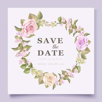 Elegancka karta zaproszenie na ślub kwiatowy